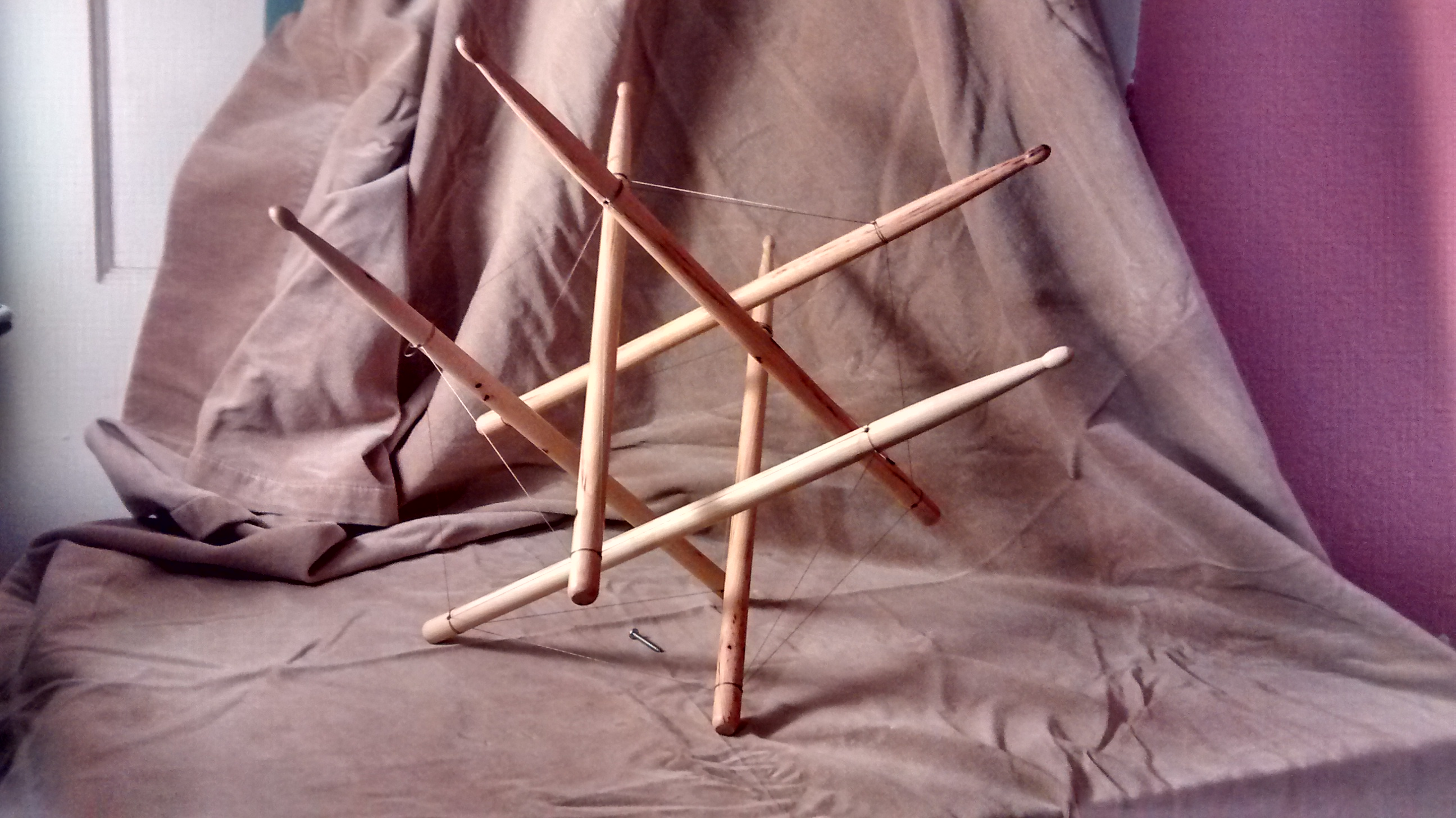 Tensegrity with drumsticks
